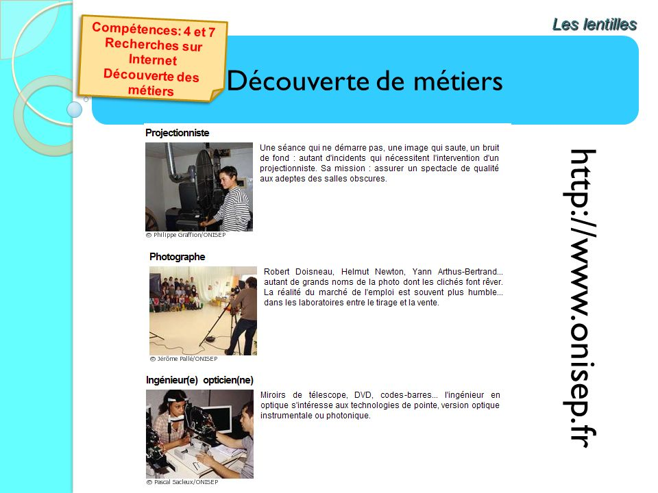 Découverte de métiers Les lentilles http://www.onisep.fr Compétences: 4 et 7 Recherches sur Internet Découverte des métiers Compétences: 4 et 7 Recher