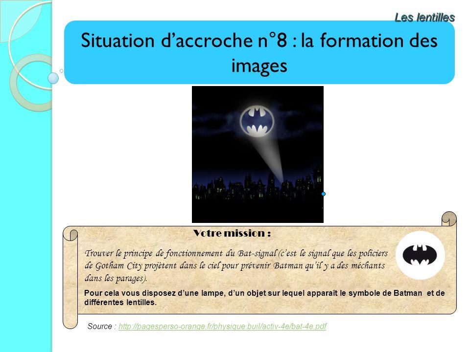 Situation daccroche n°8 : la formation des images Les lentilles Trouver le principe de fonctionnement du Bat-signal (cest le signal que les policiers