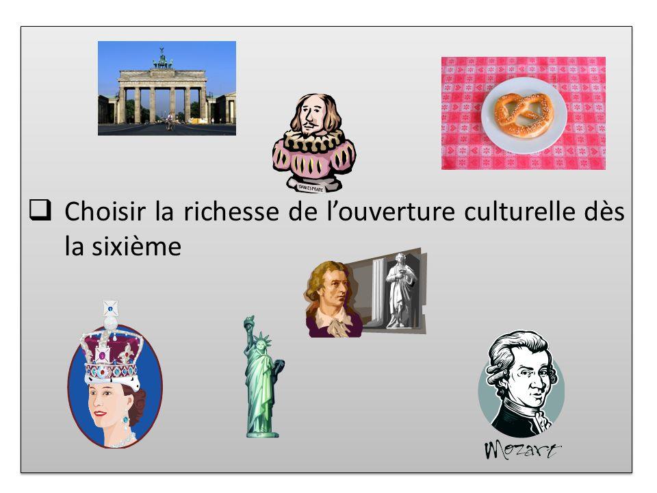 Choisir la richesse de louverture culturelle dès la sixième