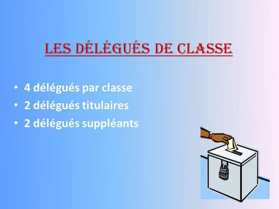 Les délégués de classe 4 délégués par classe 2 délégués titulaires 2 délégués suppléants