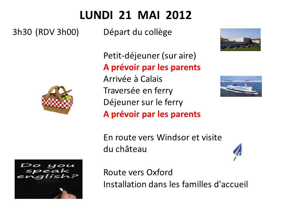 MARDI 22 MAI 2012 Visite guidée doxford Déjeuner panier-repas