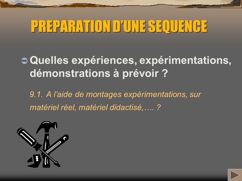 PREPARATION DUNE SEQUENCE Quelles expériences, expérimentations, démonstrations à prévoir ? 9.1. A laide de montages expérimentations, sur matériel ré