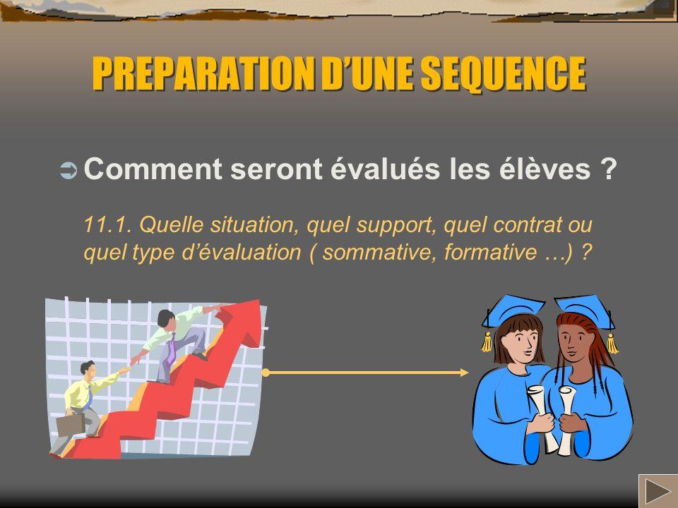 PREPARATION DUNE SEQUENCE Comment seront évalués les élèves ? 11.1. Quelle situation, quel support, quel contrat ou quel type dévaluation ( sommative,