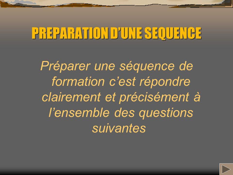 PREPARATION DUNE SEQUENCE Préparer une séquence de formation cest répondre clairement et précisément à lensemble des questions suivantes