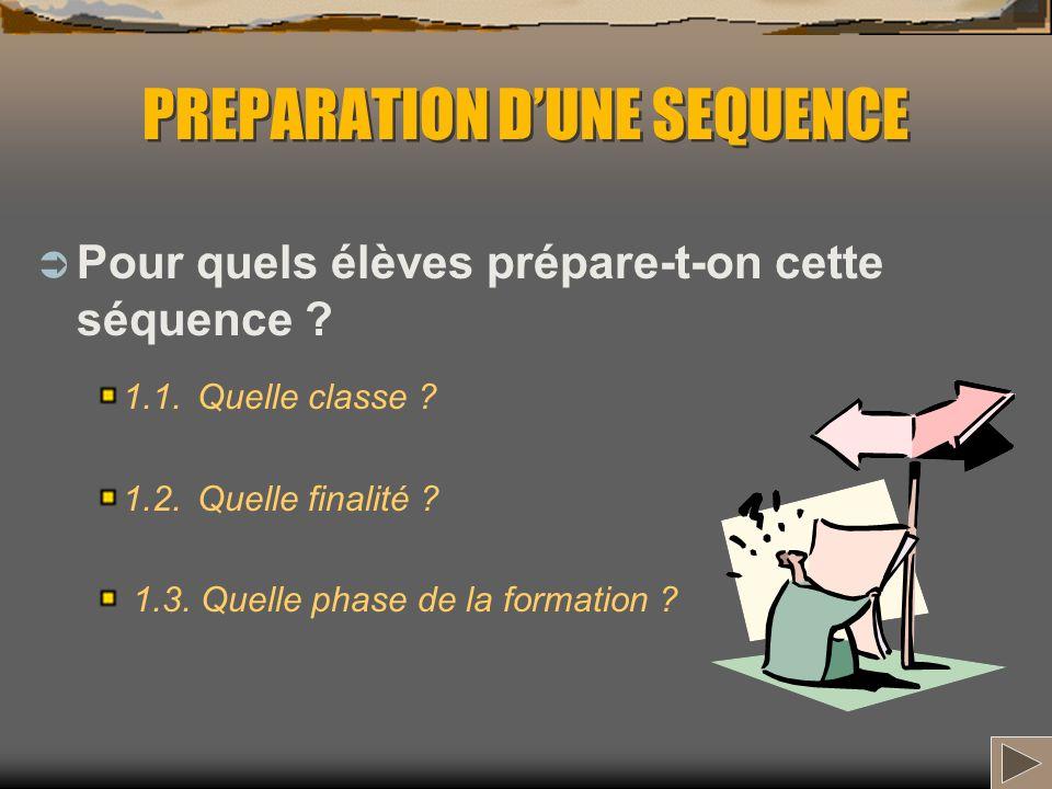 PREPARATION DUNE SEQUENCE Pour quels élèves prépare-t-on cette séquence ? 1.1. Quelle classe ? 1.2. Quelle finalité ? 1.3. Quelle phase de la formatio