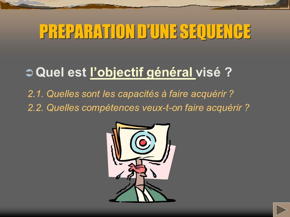 PREPARATION DUNE SEQUENCE Quel est lobjectif général visé ?lobjectif général 2.1. Quelles sont les capacités à faire acquérir ? 2.2. Quelles compétenc