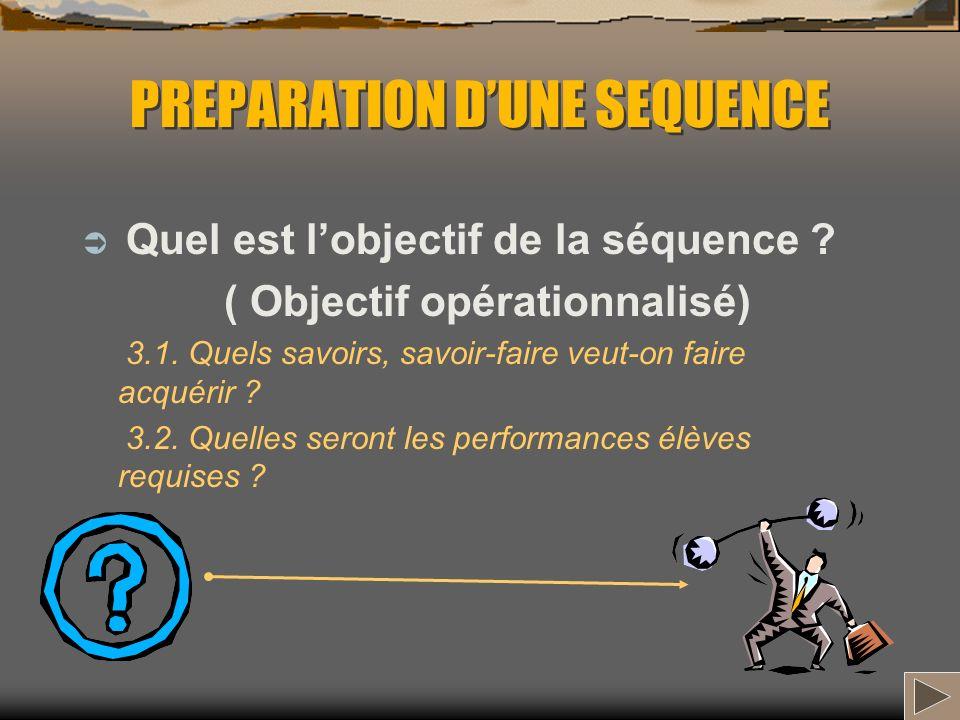 PREPARATION DUNE SEQUENCE Quel est lobjectif de la séquence ? ( Objectif opérationnalisé) 3.1. Quels savoirs, savoir-faire veut-on faire acquérir ? 3.