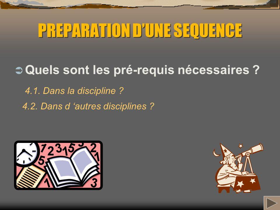 PREPARATION DUNE SEQUENCE Quels sont les pré-requis nécessaires ? 4.1. Dans la discipline ? 4.2. Dans d autres disciplines ?