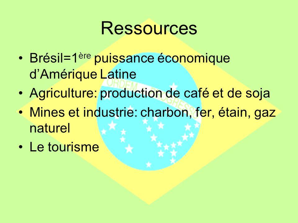 Ressources Brésil=1 ère puissance économique dAmérique Latine Agriculture: production de café et de soja Mines et industrie: charbon, fer, étain, gaz