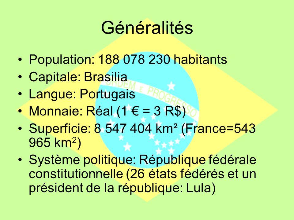 Généralités Population: 188 078 230 habitants Capitale: Brasilia Langue: Portugais Monnaie: Réal (1 = 3 R$) Superficie: 8 547 404 km² (France=543 965