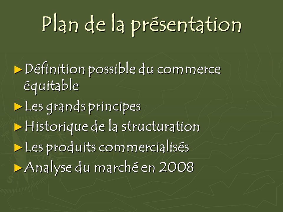 Plan de la présentation Définition possible du commerce équitable Définition possible du commerce équitable Les grands principes Les grands principes