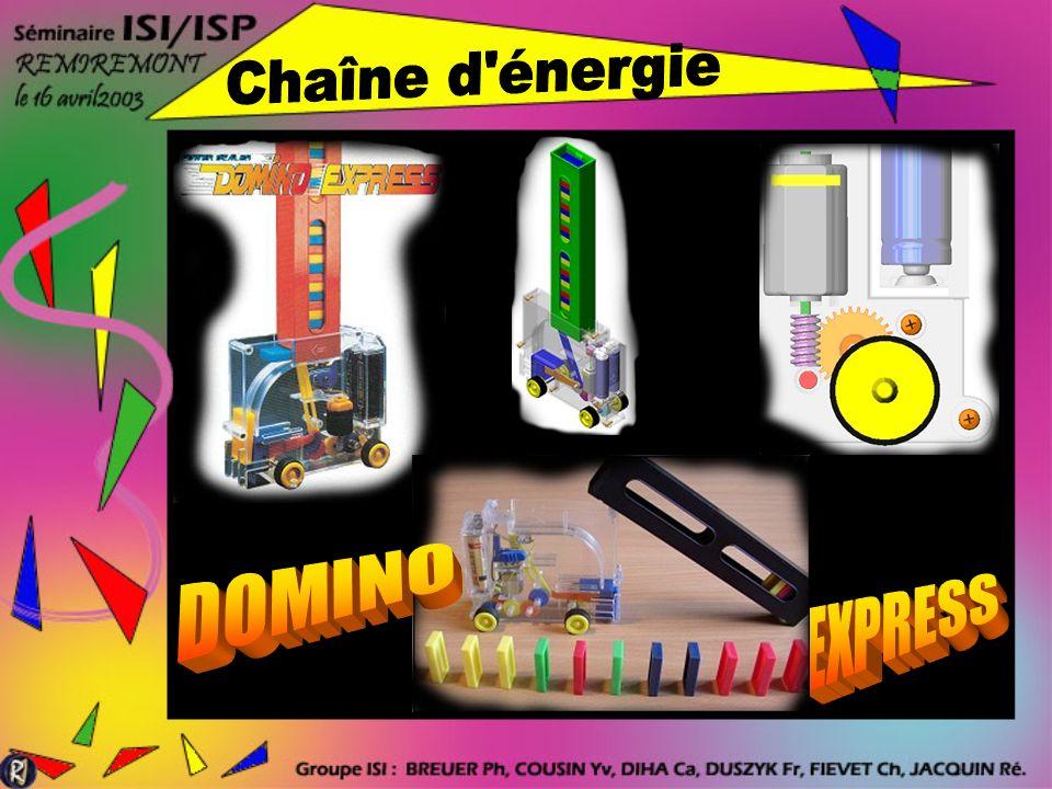 La suite du TP trouve son intérêt dans létude de la chaîne dénergie relative à lavance du Domino Express (2 eme problème concernant la réduction et le changement de vitesse)
