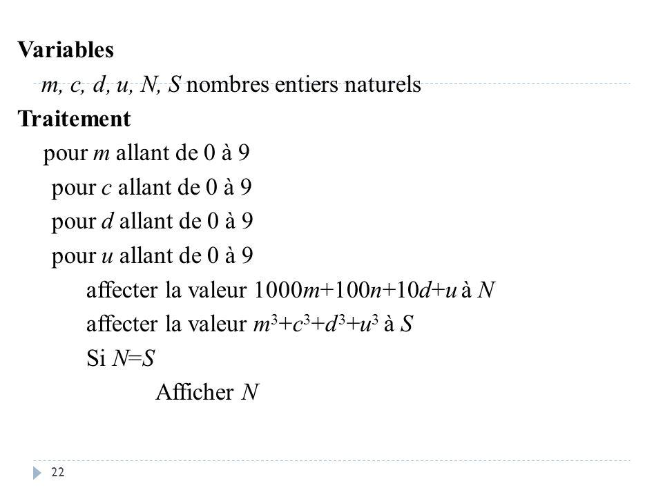 22 Variables m, c, d, u, N, S nombres entiers naturels Traitement pour m allant de 0 à 9 pour c allant de 0 à 9 pour d allant de 0 à 9 pour u allant d