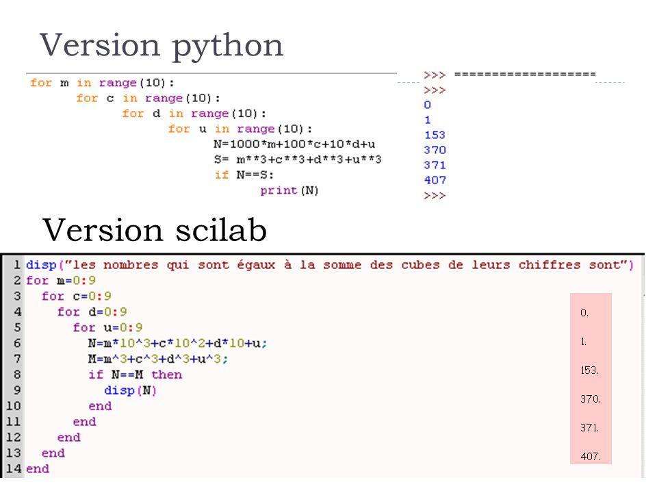 25 Version python Version scilab