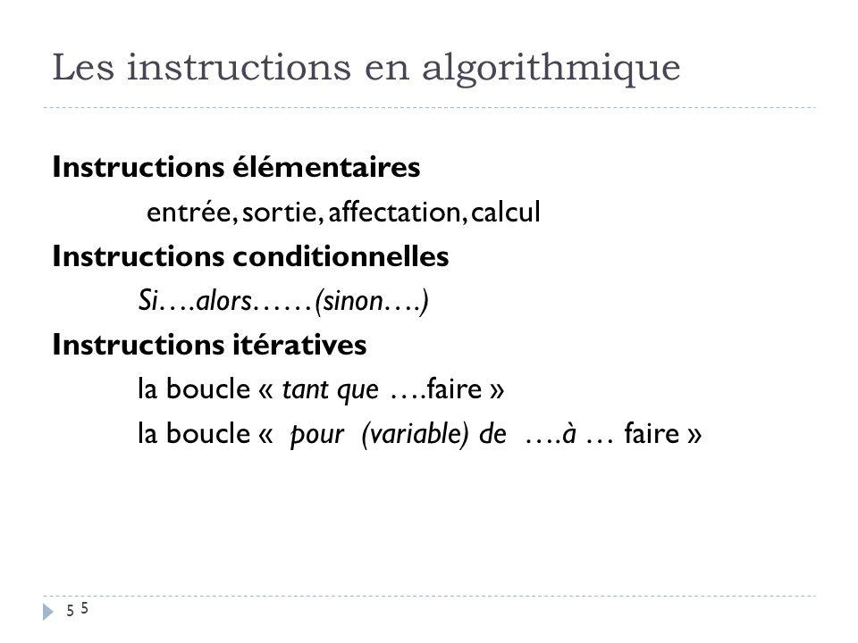 5 Les instructions en algorithmique Instructions élémentaires entrée, sortie, affectation, calcul Instructions conditionnelles Si….alors……(sinon….) In