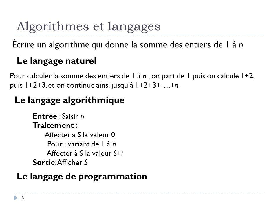 7 Algorithmes et langages Écrire un algorithme qui donne la somme des entiers de 1 à n n=int(input( Saisir le nombre n )) S=0 for i in range(n+1): S=S+i print( La somme des entiers de 1 à ,n, est égale à ,S) Algobox Python