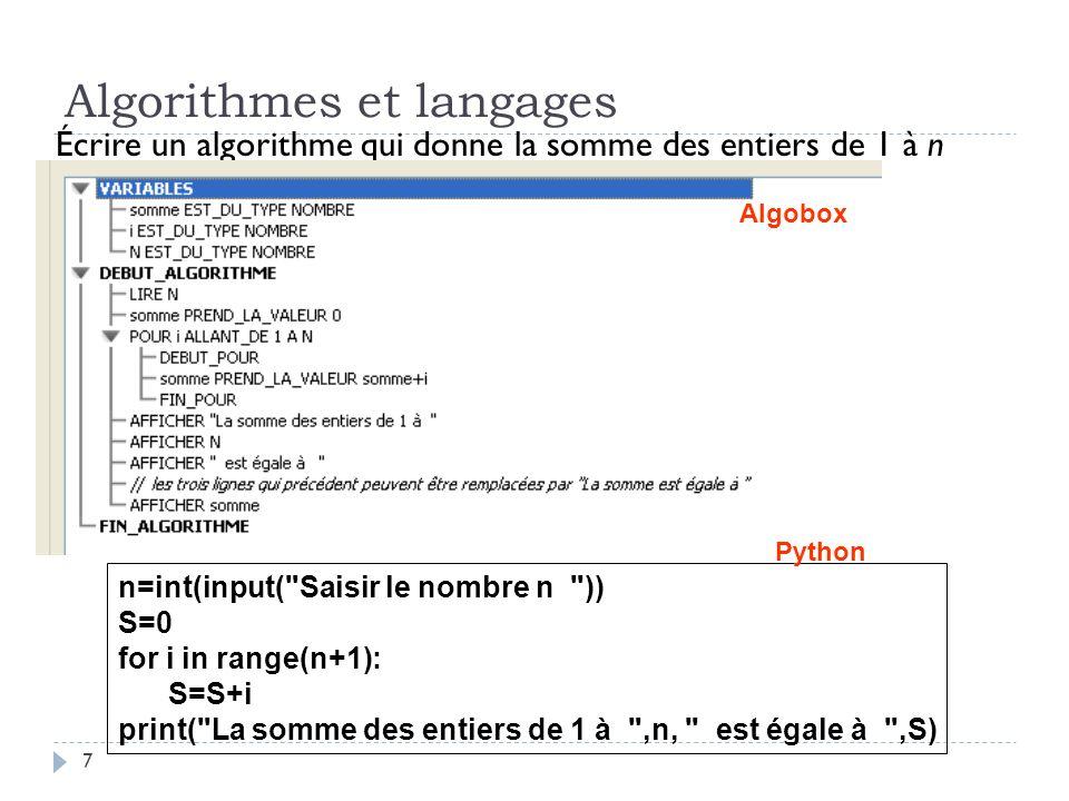 7 Algorithmes et langages Écrire un algorithme qui donne la somme des entiers de 1 à n n=int(input(
