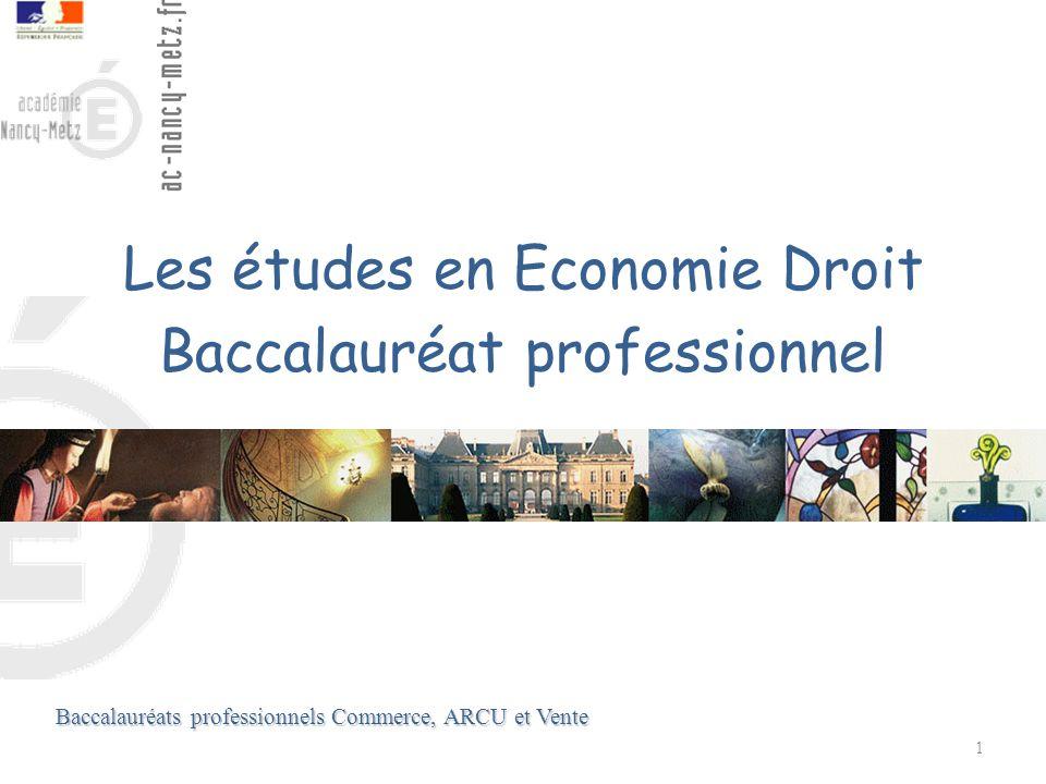 Les études en Economie Droit Baccalauréat professionnel 1 Baccalauréats professionnels Commerce, ARCU et Vente