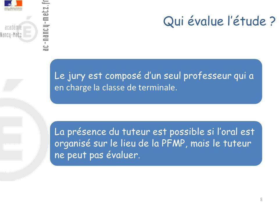 Qui évalue létude ? 8 Le jury est composé dun seul professeur qui a en charge la classe de terminale. La présence du tuteur est possible si loral est