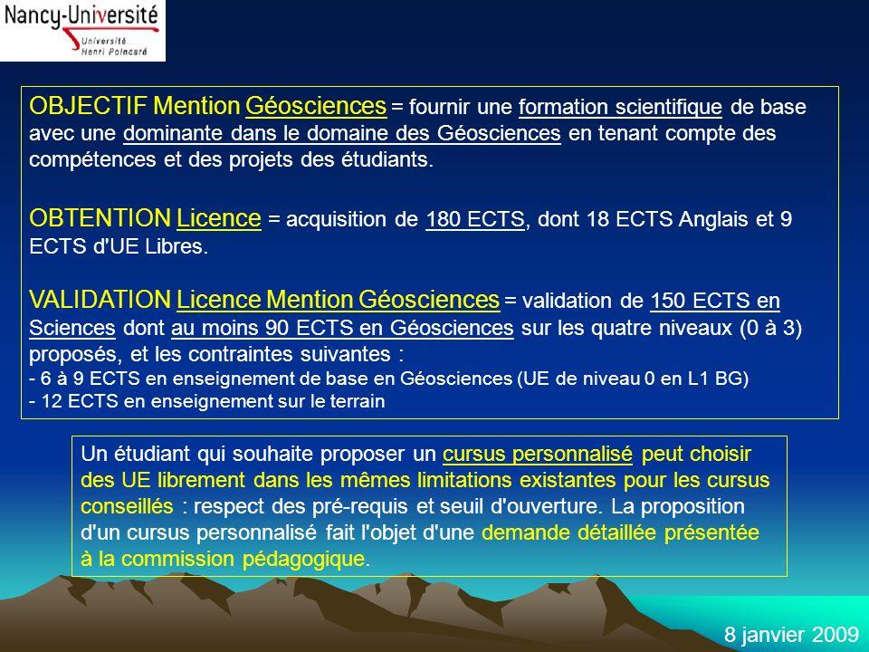8 janvier 2009 OBJECTIF Mention Géosciences = fournir une formation scientifique de base avec une dominante dans le domaine des Géosciences en tenant