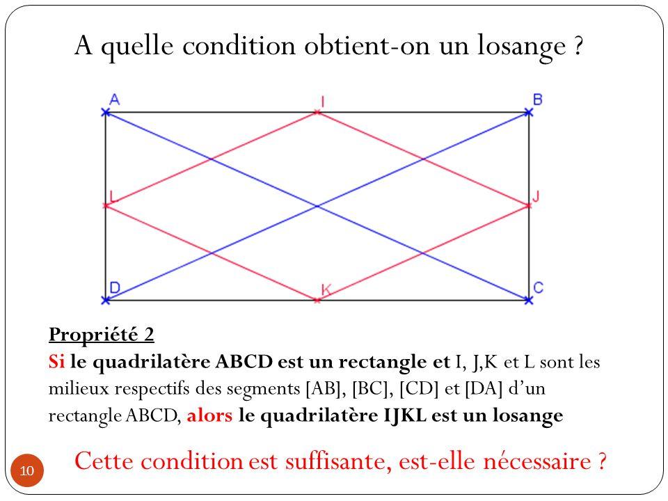 A quelle condition obtient-on un losange ? Propriété 2 Si le quadrilatère ABCD est un rectangle et I, J,K et L sont les milieux respectifs des segment