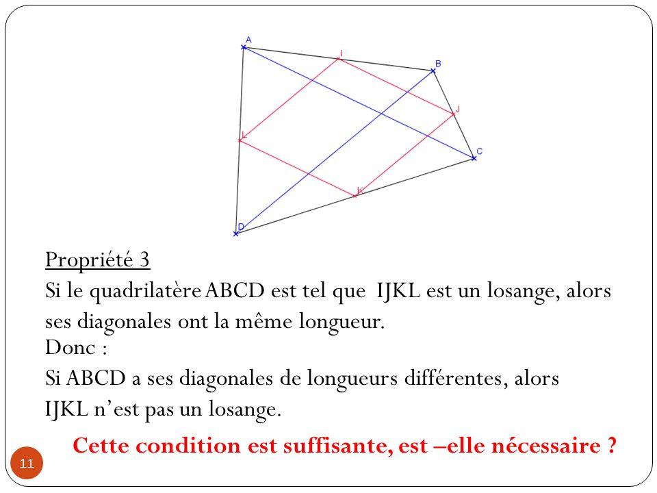 Cette condition est suffisante, est –elle nécessaire ? Propriété 3 Si le quadrilatère ABCD est tel que IJKL est un losange, alors ses diagonales ont l