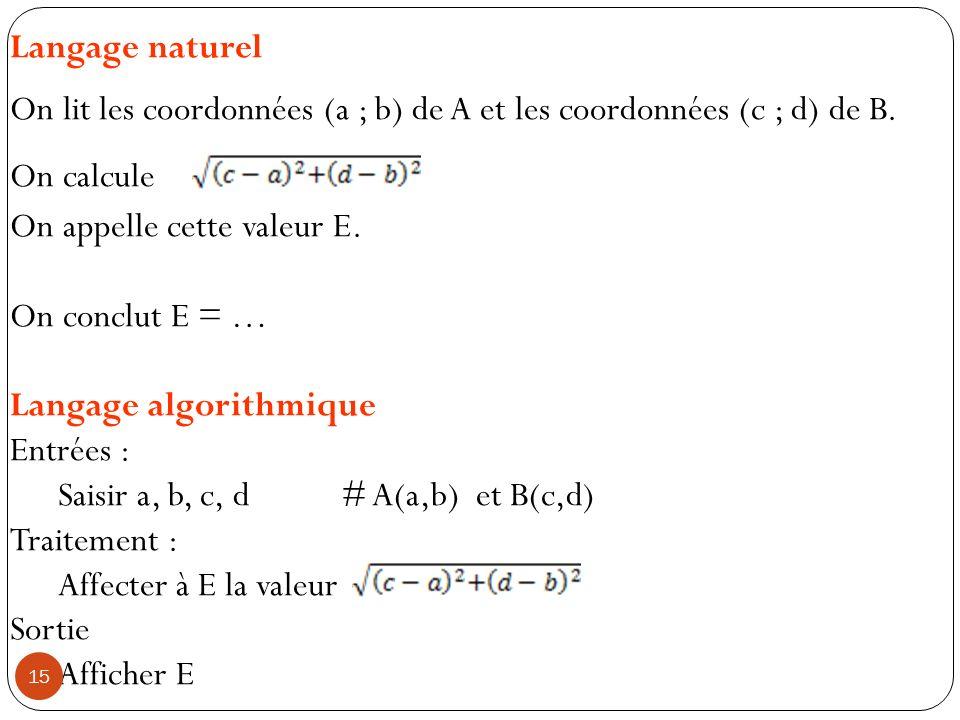 Langage naturel On lit les coordonnées (a ; b) de A et les coordonnées (c ; d) de B. On calcule On appelle cette valeur E. On conclut E = … Langage al