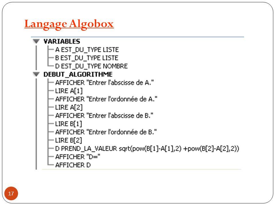 Langage Python from math import * a=float(input ( Entrez l abscisse de A: )) b=float(input ( Entrez l ordonnée de A: )) c= float(input ( Entrez l abscisse de B: )) d=float(input ( Entrez l ordonnée de B: )) D=sqrt((c-a)**2+(d-b)**2) print( D= ,D) 18