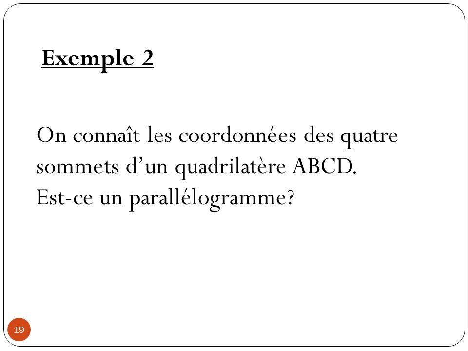 Exemple 2 On connaît les coordonnées des quatre sommets dun quadrilatère ABCD. Est-ce un parallélogramme? 19