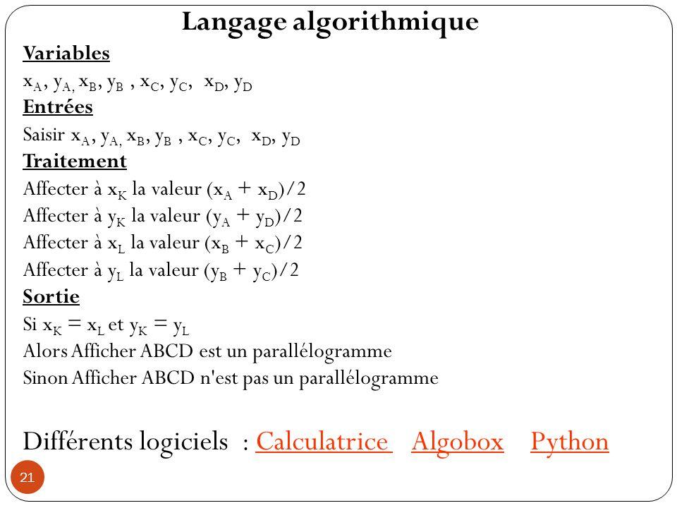 Langage algorithmique Variables x A, y A, x B, y B, x C, y C, x D, y D Entrées Saisir x A, y A, x B, y B, x C, y C, x D, y D Traitement Affecter à x K