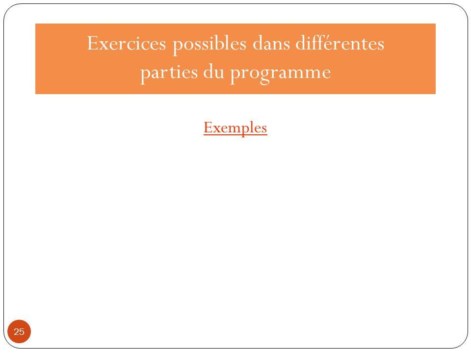 Exercices possibles dans différentes parties du programme Exemples 25