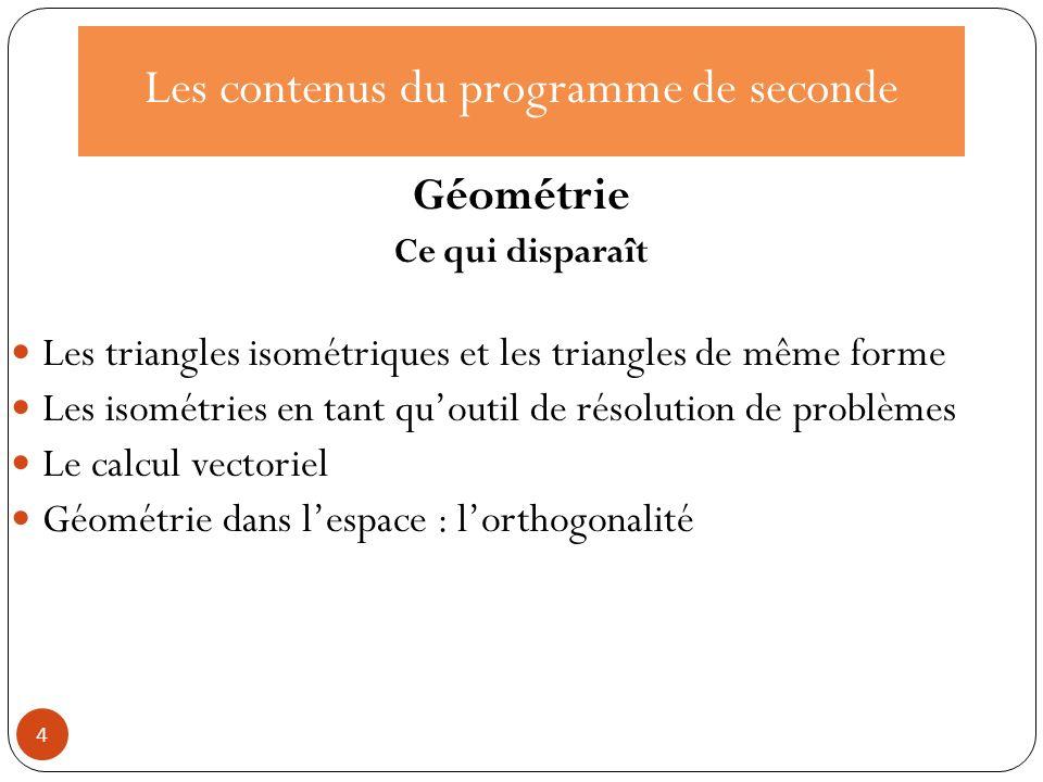 Les contenus du programme de seconde Géométrie Ce qui disparaît Les triangles isométriques et les triangles de même forme Les isométries en tant quout