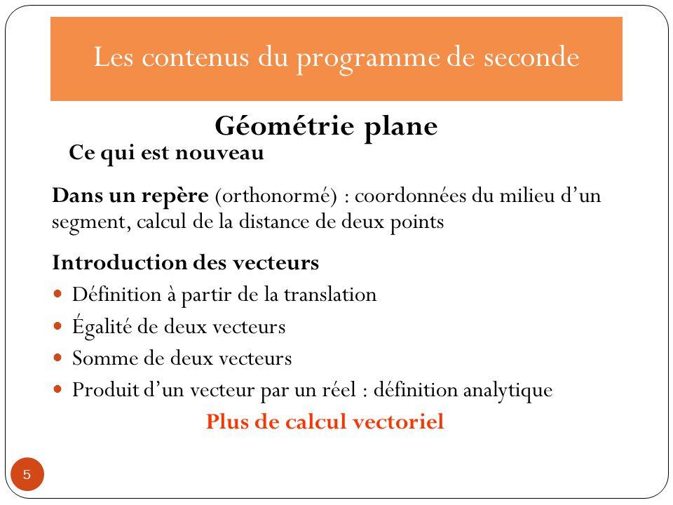 Les contenus du programme de seconde Introduction des vecteurs Définition à partir de la translation Égalité de deux vecteurs Somme de deux vecteurs P