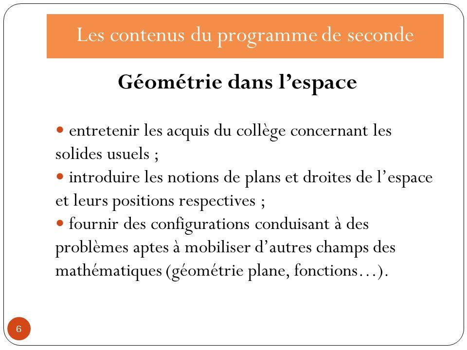 Les contenus et les capacités dans le programme de seconde 7 un exemple de progression en géométrieprogression géométrie