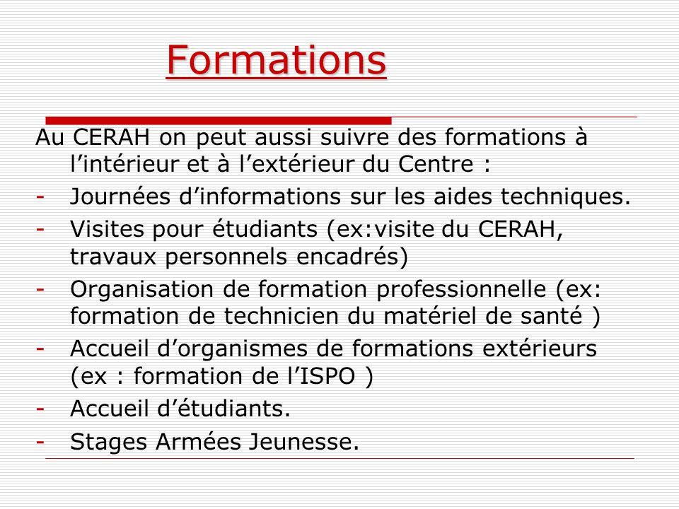 Formations Au CERAH on peut aussi suivre des formations à lintérieur et à lextérieur du Centre : -Journées dinformations sur les aides techniques. -Vi