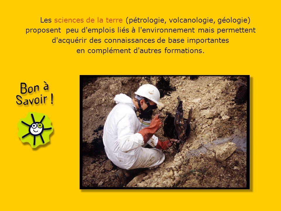 Les sciences de la terre (pétrologie, volcanologie, géologie) proposent peu d emplois liés à l environnement mais permettent d acquérir des connaissances de base importantes en complément d autres formations.