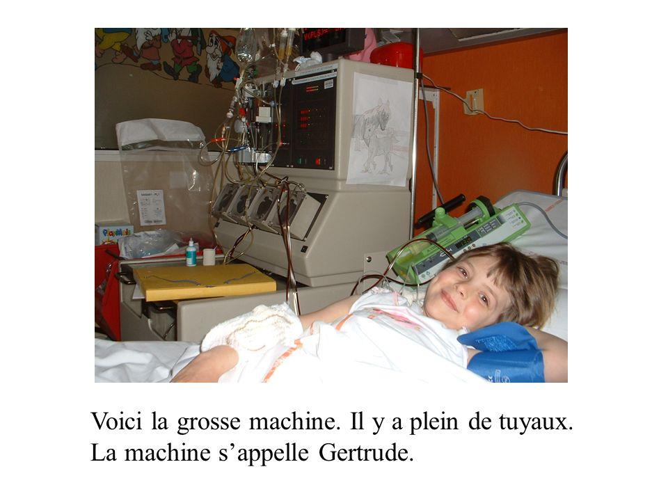 Voici la grosse machine. Il y a plein de tuyaux. La machine sappelle Gertrude.