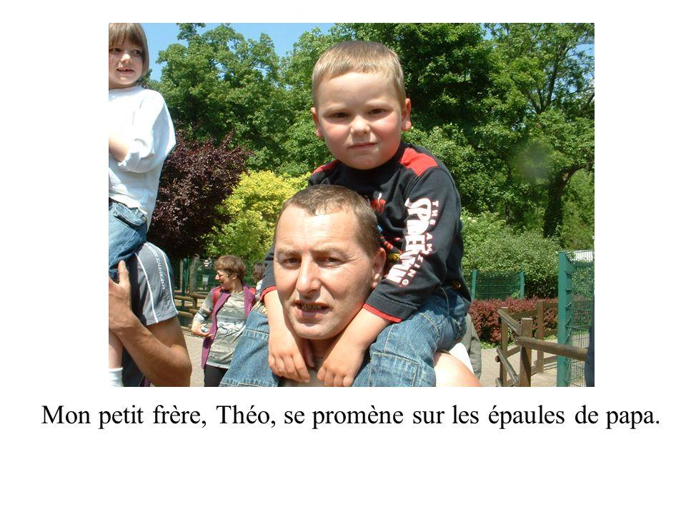 Mon petit frère, Théo, se promène sur les épaules de papa.