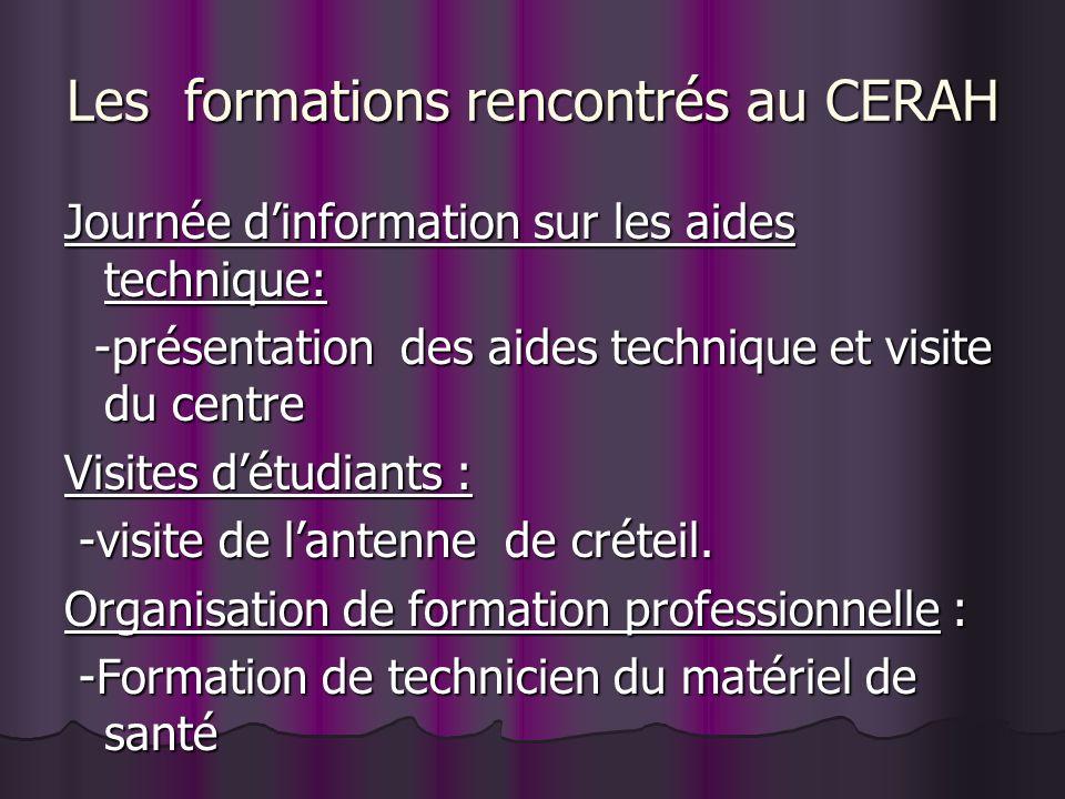 Les formations rencontrés au CERAH Journée dinformation sur les aides technique: -présentation des aides technique et visite du centre -présentation d