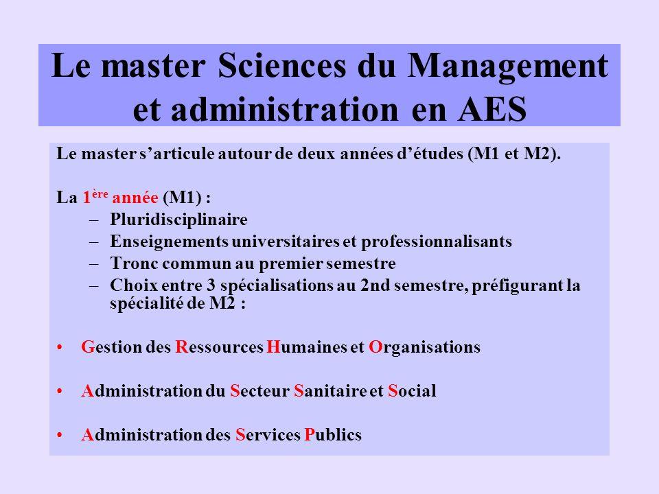 Le master Sciences du Management et administration en AES Le master sarticule autour de deux années détudes (M1 et M2). La 1 ère année (M1) : –Pluridi