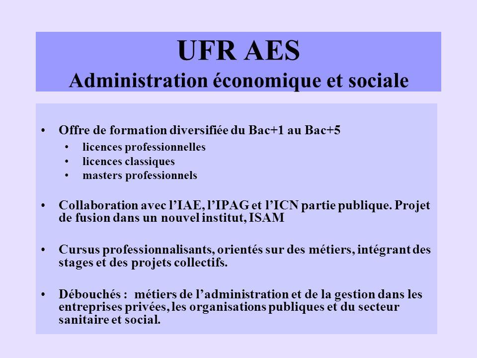 UFR AES Administration économique et sociale Offre de formation diversifiée du Bac+1 au Bac+5 licences professionnelles licences classiques masters pr