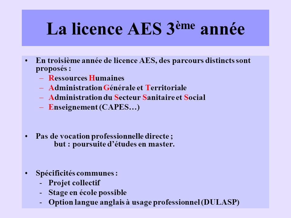 La licence AES 3 ème année En troisième année de licence AES, des parcours distincts sont proposés : –Ressources Humaines –Administration Générale et
