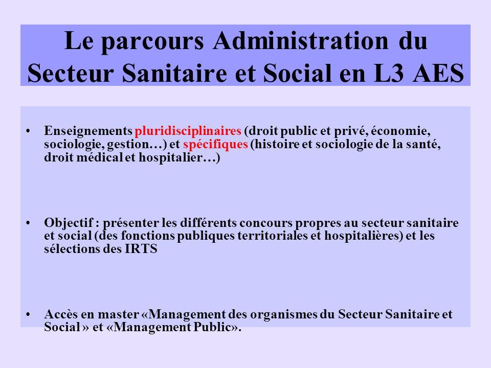 Le parcours Administration du Secteur Sanitaire et Social en L3 AES Enseignements pluridisciplinaires (droit public et privé, économie, sociologie, ge