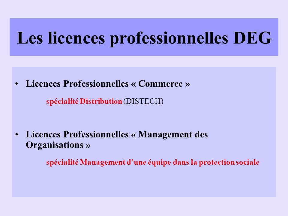 Les licences professionnelles DEG Licences Professionnelles « Commerce » spécialité Distribution (DISTECH) Licences Professionnelles « Management des