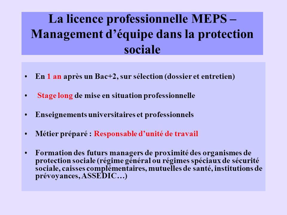 La licence professionnelle MEPS – Management déquipe dans la protection sociale En 1 an après un Bac+2, sur sélection (dossier et entretien) Stage lon
