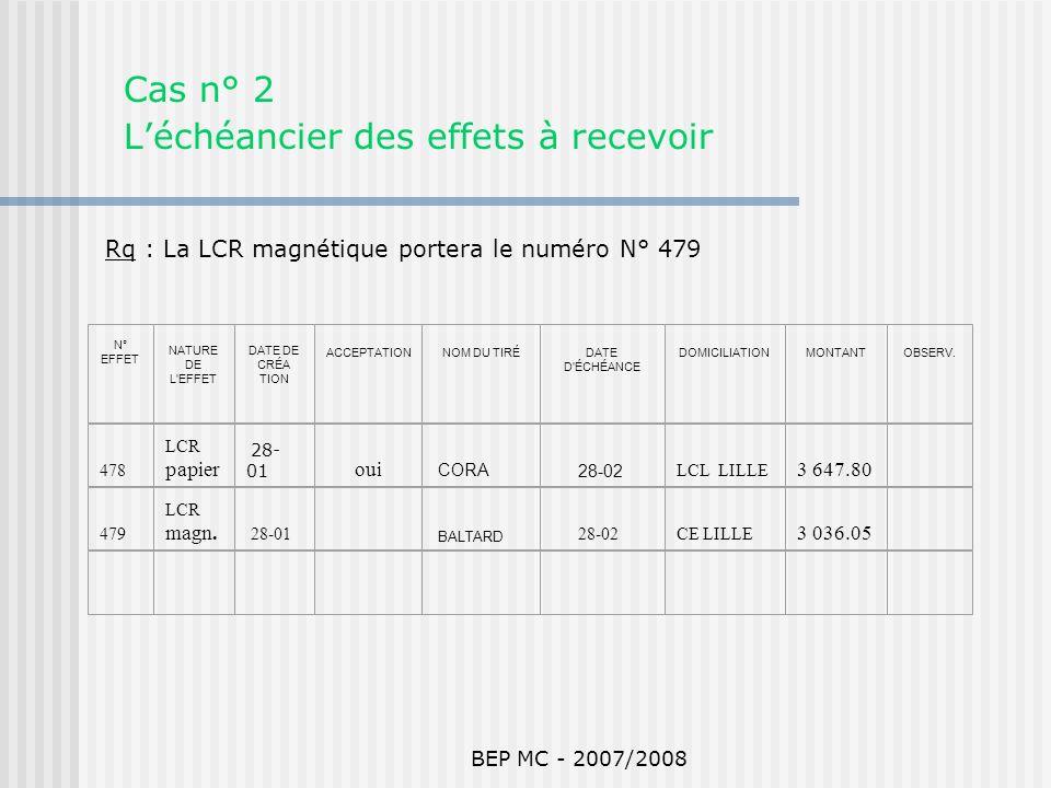 BEP MC - 2007/2008 Cas n° 2 Léchéancier des effets à recevoir N° EFFET NATURE DE L'EFFET DATE DE CRÉA TION ACCEPTATIONNOM DU TIRÉDATE D'ÉCHÉANCE DOMIC