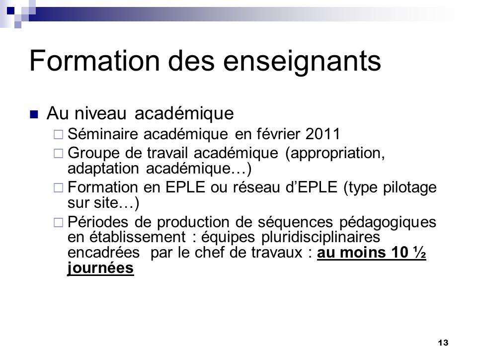 13 Formation des enseignants Au niveau académique Séminaire académique en février 2011 Groupe de travail académique (appropriation, adaptation académi
