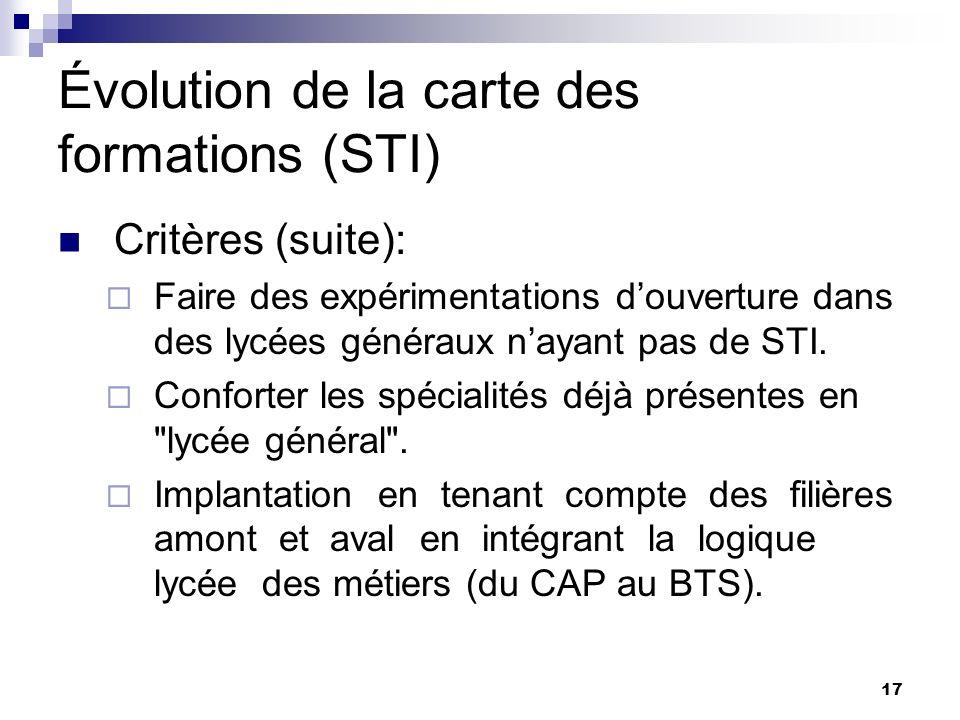 17 Évolution de la carte des formations (STI) Critères (suite): Faire des expérimentations douverture dans des lycées généraux nayant pas de STI.