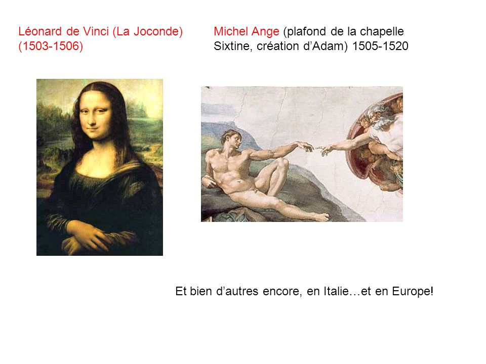 Léonard de Vinci (La Joconde) (1503-1506) Michel Ange (plafond de la chapelle Sixtine, création dAdam) 1505-1520 Et bien dautres encore, en Italie…et
