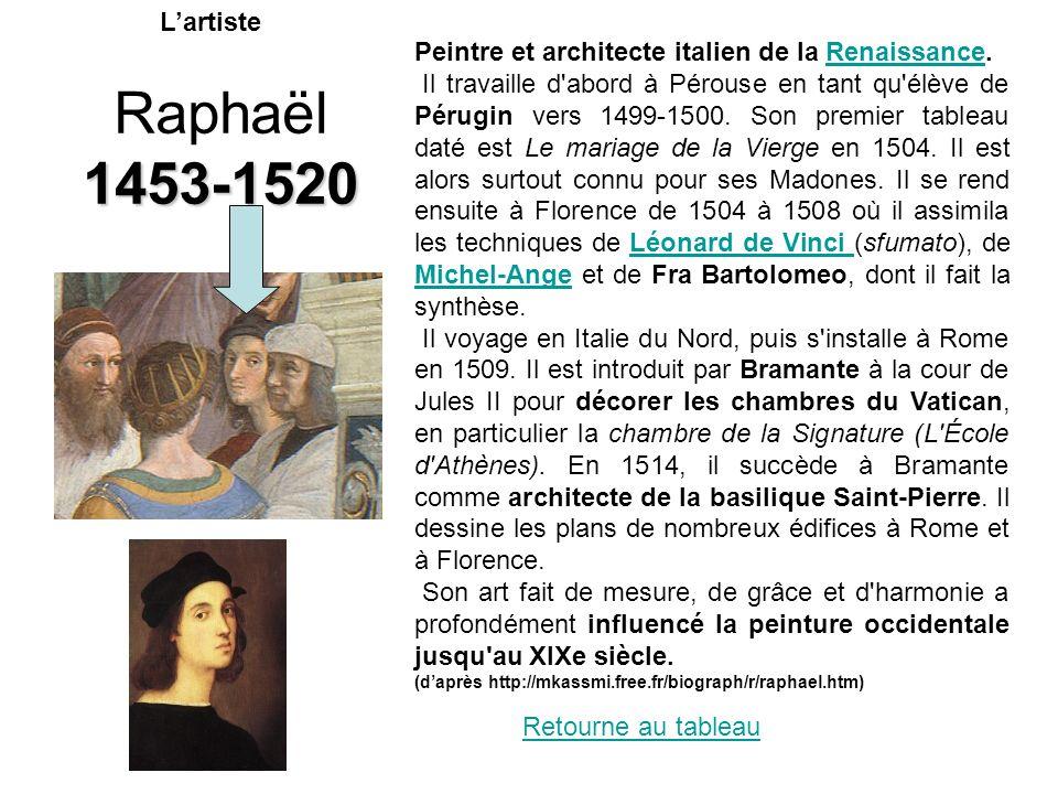 Raphaël 1453-1520 Peintre et architecte italien de la Renaissance.Renaissance Il travaille d'abord à Pérouse en tant qu'élève de Pérugin vers 1499-150